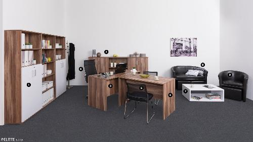 <b>KANCELÁRIA-REA OFFICE-ORECH</b><br><p>❶ zostavy REA OFFICE: S50(3x) + D3(4ks), ❷ zostavy REA OFFICE: S30(3) +D3(4ks), ❸ stôl: REA OFFICE 60 pi/za, ❹ stôl: REA OFFICE 67 pi/za, ❺ kancelárska stolička: ZOJA, ❻ kancelárske kreslo: PROTUS, ❼ konf. stolík REA PLAY: RP-KS-2, ❽ klubové dvojkreslo s taburetkou: AVA HOLGER II, ❾ klubové kreslo s taburetkou: AVA HOLGER I</p>