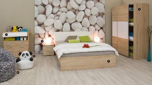 <b>SPÁLŇA-BARDOLINO</b><br><p>❶ dvojlôžková posteľ: REA SAXANA 160 + ČELO + matrac: SIMMA 80(2x), ❷ komoda sprebaľovacím pultom: REA MICKEY, ❸ nočný stolík: REA OTTAWA UP NS, ❹ skriňa: REA HOUSTON 2, ❺ detský sedací vak: BABY PANDA, ❻ sedací vak: TORTUGA BAC ZEBRA</p>