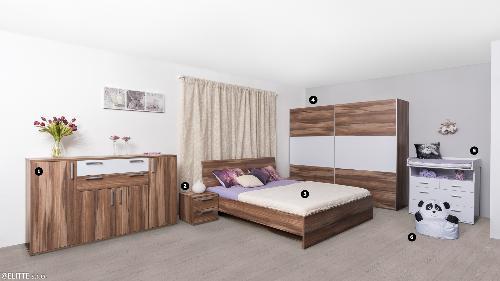 <b>SPÁLŇA-ORECH</b><br><p>❶ komoda: REA OTTAWA UP 6: BIELA, ❷ nočný stolík: REA OTTAWA UP NS, ❸ dvojlôžková posteľ: REA OXANA 160 + matrac: SIMMA 80(2x), ❹ skriňa: REA HOUSTON 3, ❺ REA MICKEY, ❻ detský sedací vak: BABY PANDA</p>