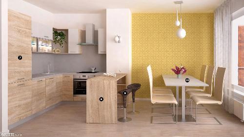 <b>6. KUCHYŇA-REA ALFA-BARDOLÍNO</b><br><p>❼ zostava skriniek: REA ALFA,  ❽ barový pult: REA BAR UP 1,  ❾ barová stolička: MAURA 2,  ❿ jedálenský stôl: REA FLAT 2 + REA PODNOŽ 2</p>